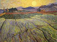 «Пшеничное поле с заходящим солнцем», копия картины Ван Гога картина маслом