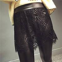 Женские лосины из эко-кожи с кружевной юбкой