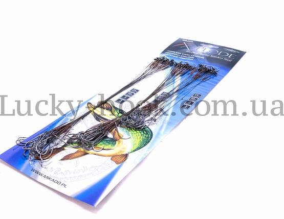 Поводки Mikado X-Plode стальной с вертлюжком и крючком 15-20-25cm 60шт, фото 2