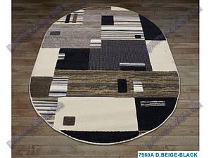 Низковорсный ковер Геометрия  Лофт shaggy,  бежевый с черным