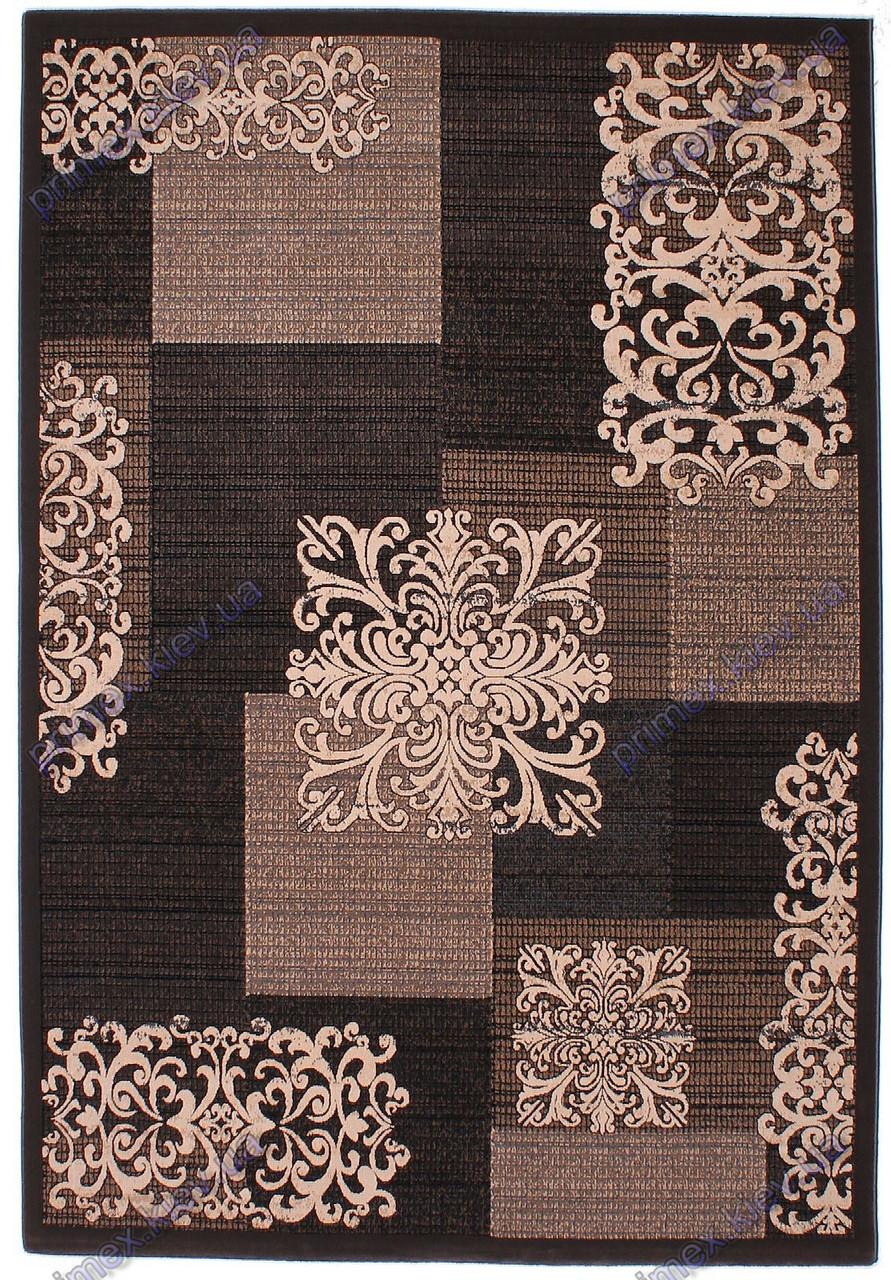 Низковорсный ковер Геометрия-Вензель  Лофт shaggy,  бежевый с черным