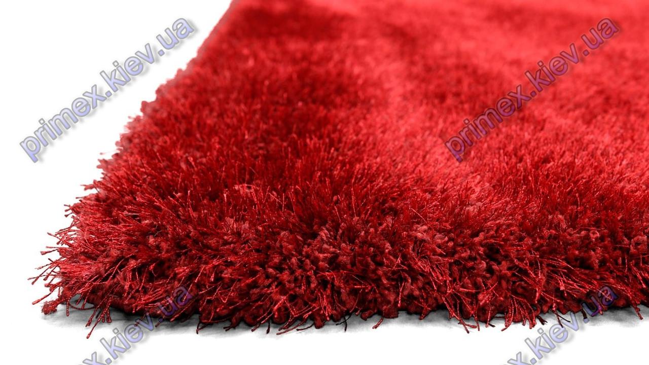 Ворсистый ковер Лотос shaggy, однотонный красный