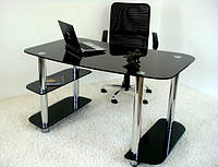 Компьютерный стол из черного (покраска) стекла