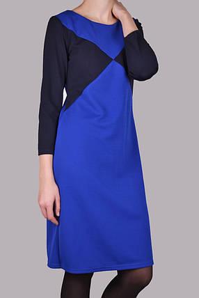 Женское платье Синее с черными рукавами (WZ12) | 2 шт., фото 2