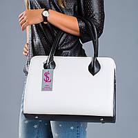 Черно-белая сумка №1346wn3 прямоугольная женская
