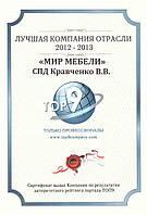 """Компания """"МИР МЕБЕЛИ"""" получила очередной сертификат - лучшая компания отрасли."""