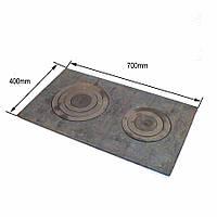 Плита чугунная цельная 2-х конфорочная 400х700 мм в сборе, фото 1