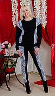 Женский трикотажный костюм  с гипюром черный, фото 1