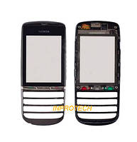 Сенсор (тачскрин) Nokia Asha 300 с передней панелью Silver Original