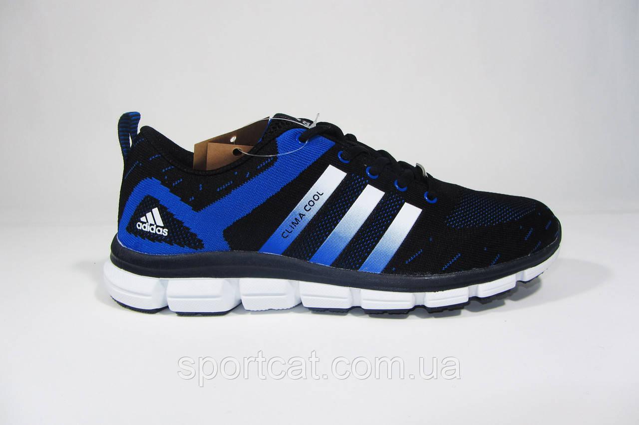 Мужские  кроссовки Adidas ClimaCool, текстиль, черные с синим