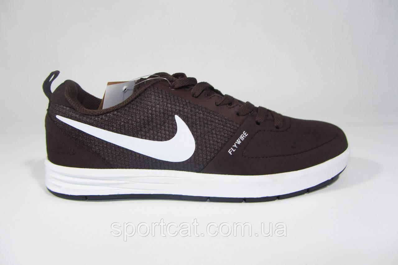 0d6bf137 Мужские повседневные кроссовки Nike Flywire, текстиль/нубук, коричневые, Р.