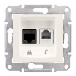 Розетка Schneider-Electric Sedna Телефонная+комп. UTP кат. 5е слоновая кость ( SDN5100123 )