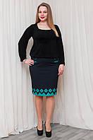 Женская юбка  синяя со вставками эко-кожи мятного цвета, фото 1