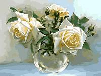 Холст с контуром по номерам VK017 Чайные розы худ Бузин Игорь (30 х 40 см) Турбо