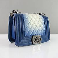 Синяя маленькая сумочка Chanel мини женская