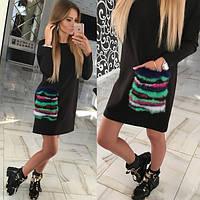 Прямое платье с цветным меховым карманом