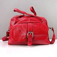 Красная кожаная сумка матовая мягкая женская