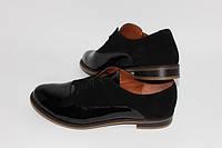 Женские туфли на низком ходу. Натуральная кожа лак + натуральный замш. Возможен отшив в других цвета, фото 1