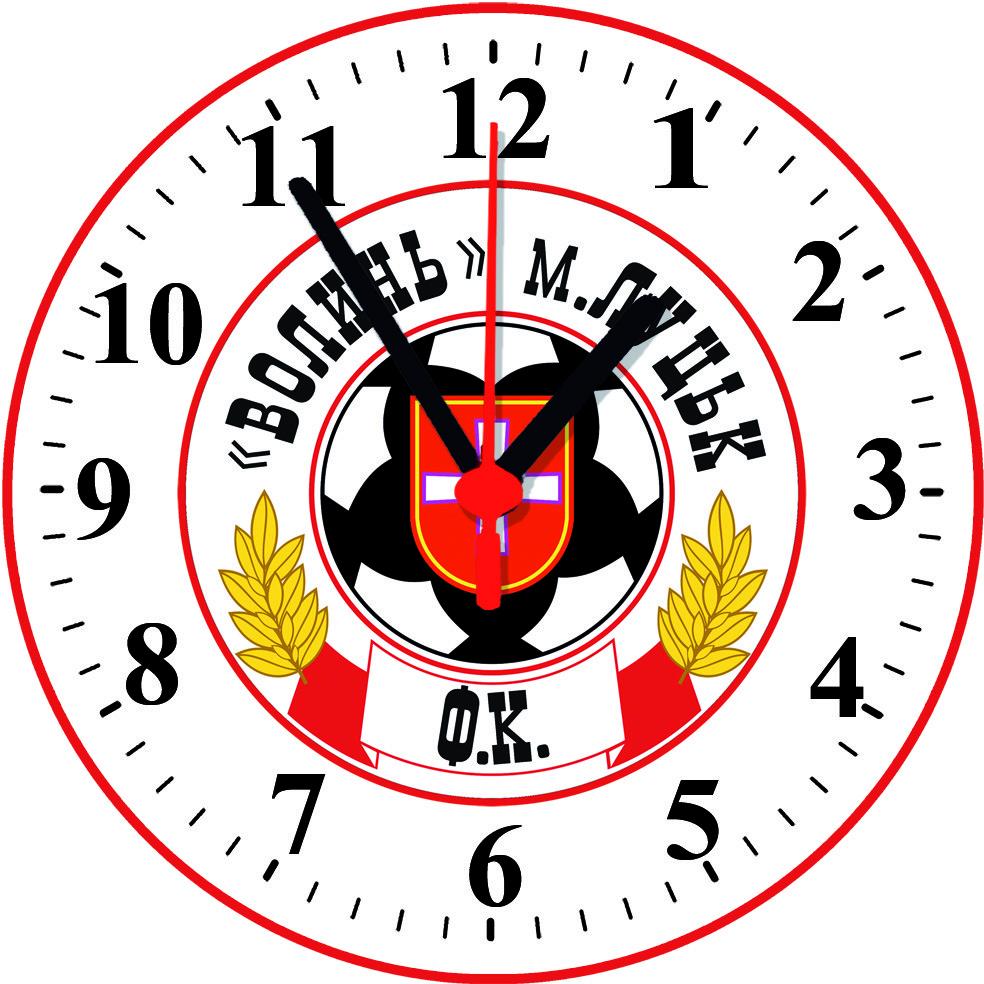 """Настенные часы на стекле """"ФК Волинь"""""""
