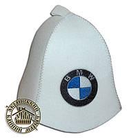 """""""BMW"""", шапка для бани (Э), белая"""