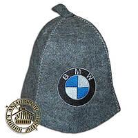 """BMW"", шапка для бани (Э), серая"