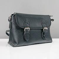 Черная сумка-портфель женская кожаная матовая