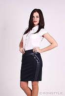 Молодежная юбка - карандаш из текстиля с вставками из эко-кожи ЧЕРНАЯ