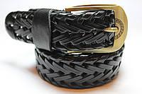 Плетеный ремень черный 35 мм