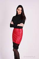 Молодежная юбка  из эко-кожи с отделкой из гипюра КРАСНАЯ, фото 1