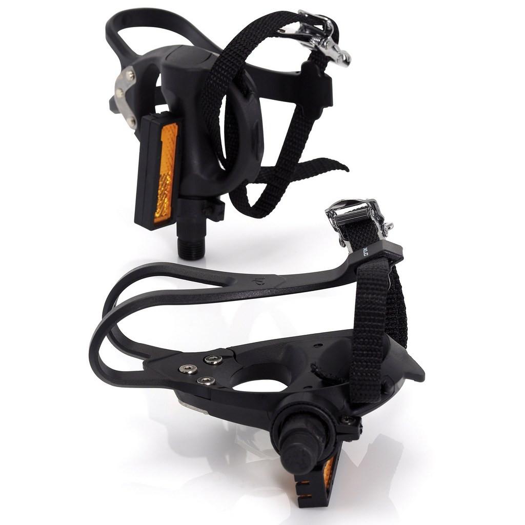 Контактні педалі XLC PD-R01, 392 гр, чорні, з ремінцями і тулипсами
