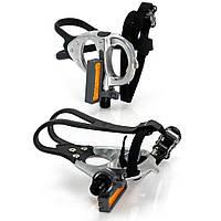 Педали контактные XLC PD-R02, 420 гр, серебристые,с ремешками и туклипсами