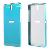 Чехол накладка бампер Mirro-like для Sony Xperia C5 Ultra E5553 Dual E5533 голубой