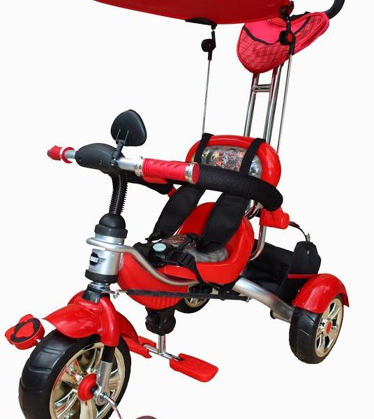 Детский велосипед трехколесный с ручкой Mars Trike KR01 аниме красный