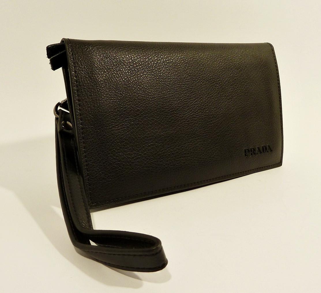 Клатч портмоне кожаный мужской черный Prada 5289-1
