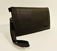 Клатч портмоне кожаный мужской черный Prada 5289-1, фото 1