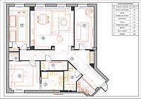 Эскиз планировки (функциональное зонирование) по чертежам заказчика