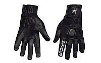 Мотоперчатки шкіряні (кожаные) SPIDER  (протектор-посилений, р-р L-XL, чорний)