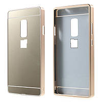 Чехол накладка бампер Mirro-like для OnePlus 2 золотой