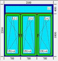Металлопластиковое окно, тройное KBE 2100х2200