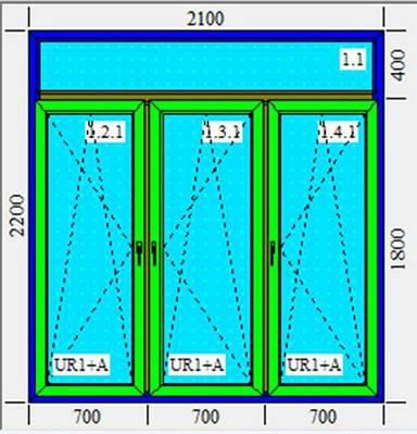 Тройное металлопластиковое окно KBE 2100х2200