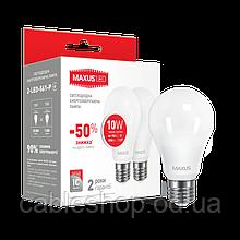 LED лампа MAXUS A60 10W м'яке світло 220V E27 (по 2 шт.) (2-LED-561-P) (NEW)