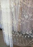 Тюлевая органза цвет шампань с вышивкой