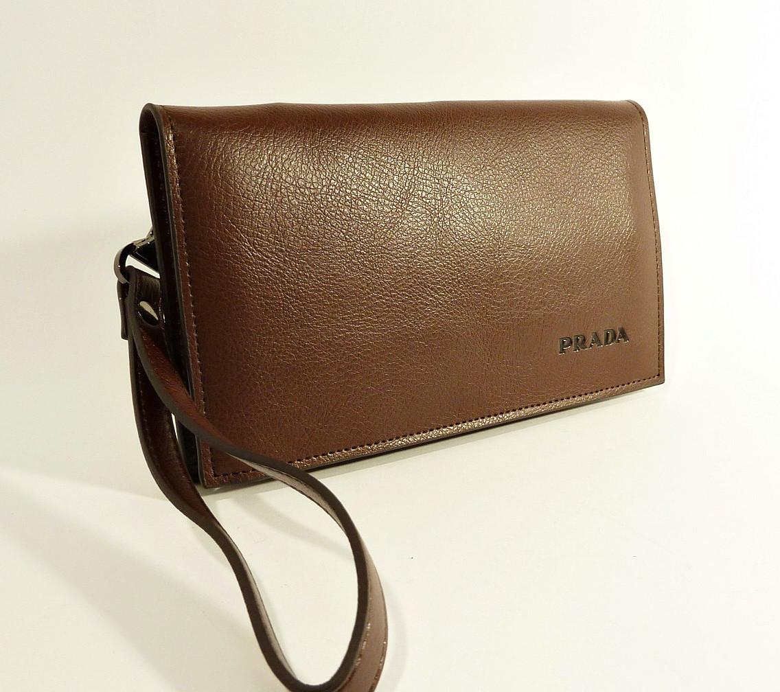 Клатч портмоне кожаный мужской кофе Prada 5289-1
