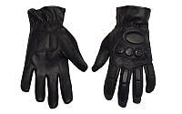 Мотоперчатки шкіряні (кожаные) (протектор-посилений, р-р L-XL, чорний)