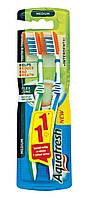 Зубная щетка Aquafresh Для зубов и языка, с эффектом зубной нитки 1+1, средняя