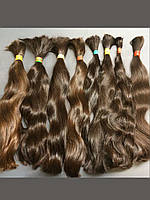 Волосы натуральные славянские коричневые в длине 30-45 см