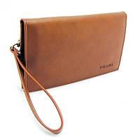 Клатч портмоне кожаный мужской коричневый Prada 5289-1, фото 1