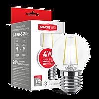 Светодиодная лампа MAXUS 4Вт G45/филамент E27 Теплый белый 3000К