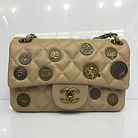 Женская сумка клатч Chanel Boy (Шанель Бой) 1152 бежевая  с бронзовой фурнитурой (монетки, медальоны)