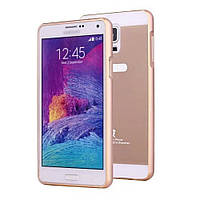 Чехол накладка бампер Mirro-like для Samsung Galaxy Note 4 N910 золотой